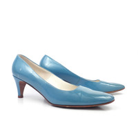 Deliso Debs Heels Vintage 1960s Turquoise Shoes 8 A