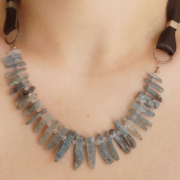 Natural Stones Grау Kyanite and Natural Crystal with Leather Kolar
