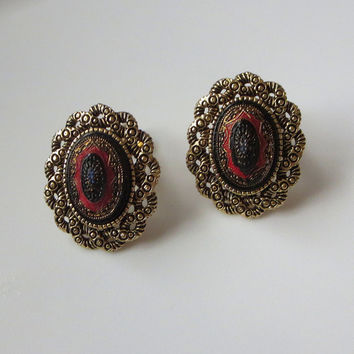 """Sarah Coventry Earrings, Vintage """"Old Vienna"""" Clips, Antiqued Gold Tone & Enamel, Designer Signed"""