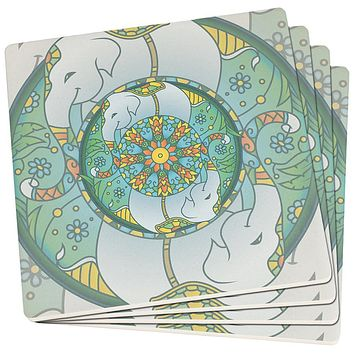 Mandala Trippy Stained Glass Elephant Set of 4 Square SandsTone Art Coasters