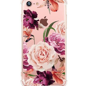iPhone 8 Case, iPhone 7 Case, Hepix Clear Soft Flexible TPU Watercolor Flowers Floral Printed Back Cover for iPhone 7 [4.7 inch]