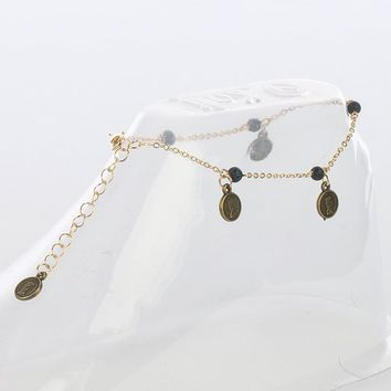 Gold Coin Charm Chain Anklet