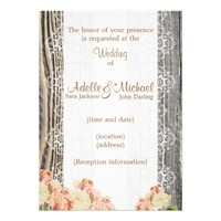 Weathered Wood Lace Pink Roses Wedding Invitation