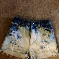 High Waisted bleached, distressed denim shorts size 0(small)