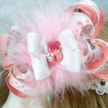 Girls infants toddlers Ballerina over the top boutique hair bow marabou surrounds the ballet slippers at the center of the bow