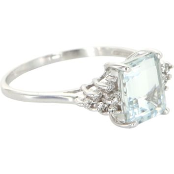 Vintage Aquamarine Diamond Cocktail Ring 14 Karat White Gold Estate Fine Jewelry 9.5