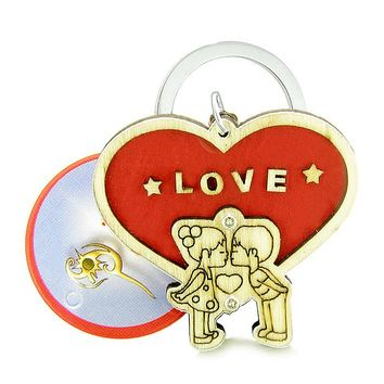 Cute Love Couples Heart Magic Energy Lucky Charm Protection Wooden Keychain Key Ring Blessing