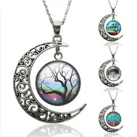 Tree of Life Moon Pendant necklace. Various design Tree of Life pendant on a moon pendant necklace. Women's life tree pendant necklace