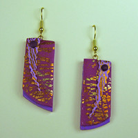 3D Lightning Strike Art Earrings in Lavender and Purple Polymer Clay with Gold Leaf