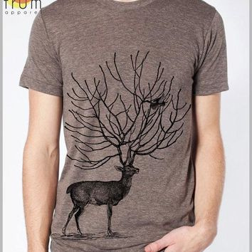 Men's Deer T Shirt Bird Tee American Apparel Tshirt XS, S, M, L, XL 9 COLORS outdoor nature clothing Gift for him