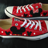 Mickey and Minnie Inspired Hand painted Converse Shoes