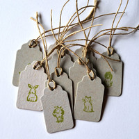 10 upcycled gift tags, Handstamped upcycled cardboard tags, cute animals hang tags, handmade price tags