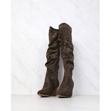 Sassy Scrunched Tall Boots in Mocha Suede