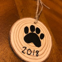 Paw Print Wooden Ornament
