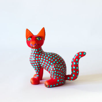 Mexican Folk Art - Wood Carving : Red Cat by Jose Olivera Perez