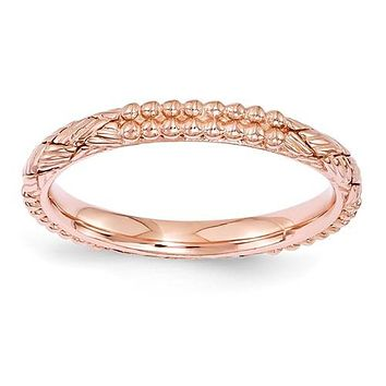 Rose Gold Sterling Silver Stackable Expressions Patterned Ring