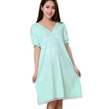 100% cotton nightgowns for women summer sleepshirts 2016 new autumn v-neck female sleepwear teenage girl lounge green yellow