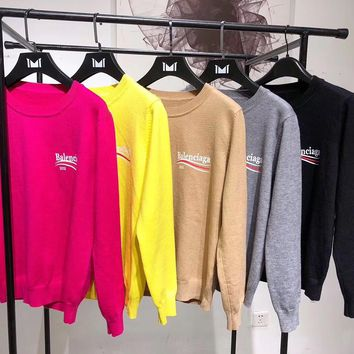 """Balenciaga"" Women Casual  All-match Fashion Letter  Logo Print Long Sleeve Stretch Knit Sweater Tops"