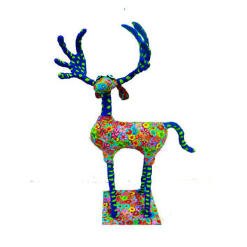 Art - Sculpture - Animal - Metal - Reindeer - Polymer clay