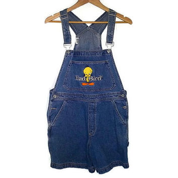Vintage TWEETY BIRD Denim Overalls SHORTS Jean Shorts Button Up Warner Brothers Looney Tunes Cartoon Soft Grunge Adult Size Large