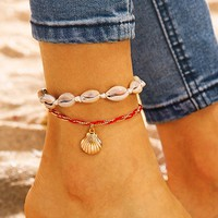 Shell Charm Anklet 2pcs