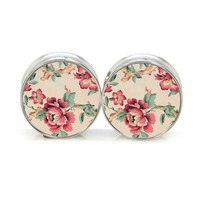 ac DCCKO2Q 1 pair plugs stainless steel vintage flower double flare ear plug gauges tunnel body piercing jewelry PSP0020