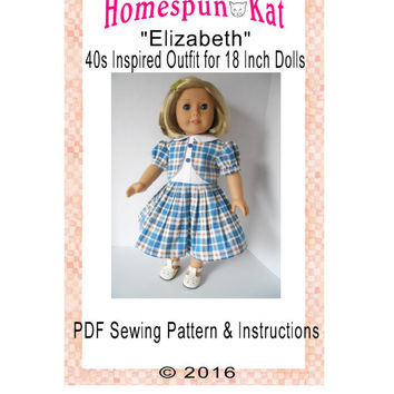 1940s Elizabeth Vintage Inspired Doll Clothing Sewing Clothing PDF Digital Download