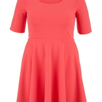 Plus Size - Patterned Elbow Length Sleeve Dress - Coral