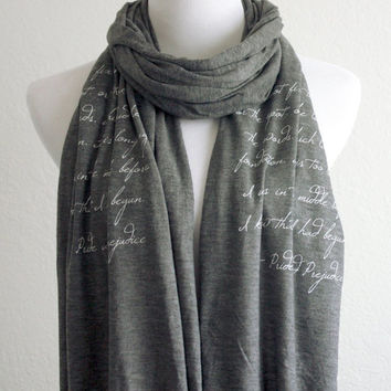 Pride and Prejudice Scarf - Knit Jersey Raw Edged Scarf - Mr. Darcy Quote
