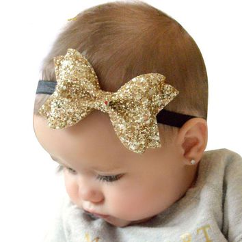 Baby Girl Hair Glitter Faux Leather Bow Headbands / 10 color choices