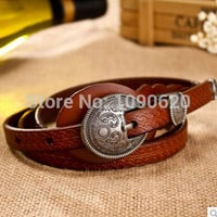 Hot selling personalized genuine leather belt vintage royal buckle 4 colors women thin embossed belt all match