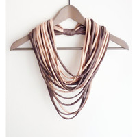 Powder pink brown necklace neck ornament loop scarf infinity scarf round scarf coffee cappucino elegant