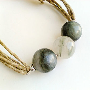 Beaded boho wrap bracelet, gray agate bead bracelet, semi precious beaded bracelets for women, wrap stone bracelet, best friend gift for 2