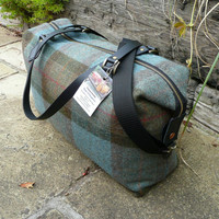Duffle Bag, Overnight Bag, Weekender Bag, Blue, green and brown tweed bag with adjustable strap and real leather handles.