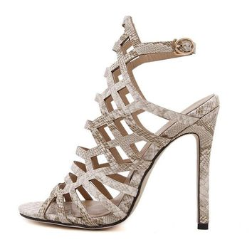 Pumps Gladiator Sandals Peep Toe Ankle Strap High Heel Stiletto Shoes
