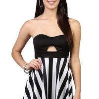 strapless skater dress with black and white striped skirt