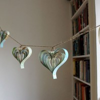 Personalized map garland of hearts by bookity on Etsy