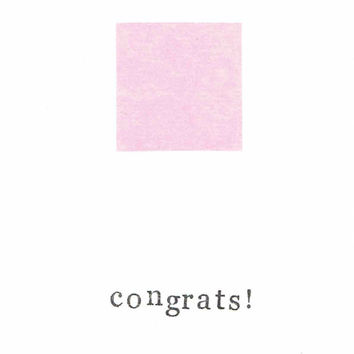 Simple Pink Baby Congratulations Card It's A Girl Modern Congrats Minimalist Welcome New Baby Pregnant Birth Newborn Hipster Funny Cute