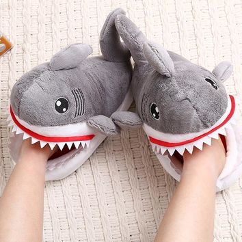 HKSNG Winter Animal Adult Grey Shark Slippers Paw Claw Indoor Floor Home Shoes For Christmas Pajamas Gift