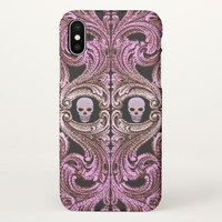 Goth Pink Ornament with Skull iPhone X Case