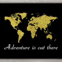 Adventure Is Out There, Gold Foil World Map Poster, Adventure Quote Gold Foil Print, Printable World Map, Gold Artwork, INSTANT DOWNLOAD