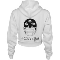Football Girlfriend of 23 Custom American Apparel Crop Full Zip Hoodie
