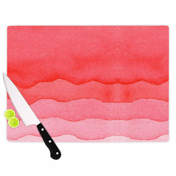 """Kess Original """"Ombre Cherries"""" Pink Abstract Cutting Board"""