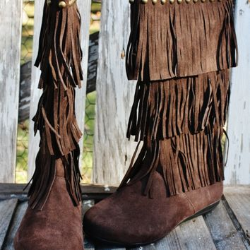 Chocolate Brown Fringe Boots