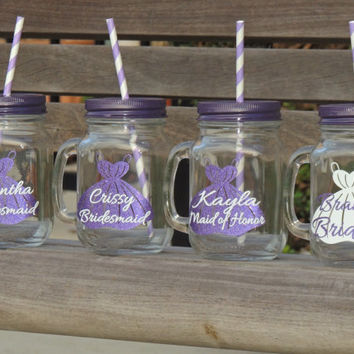 glass mason mugs, mason tumbler, mason cup, country wedding, mug with straw, personalized mug, wedding party favor, bridesmaid mug