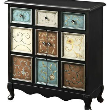 Monarch Specialties Multi-Color Apothecary Style Accent Chest - Black