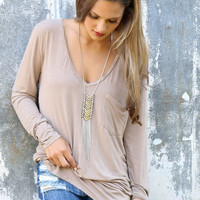 Late Lunch Light Acid Wash Beige Long Sleeve V-Neck Top With Front Pocket