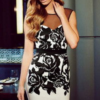 Round Neckline V Back Mini Dress with Applique Flower Mesh Accent