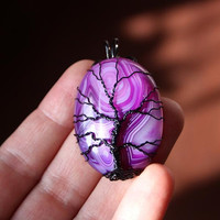 Purple veins agate black wire-wrapped Tree of Life pendant