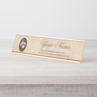 Vintage design. Photo of pink roses. Add your text Desk Name Plate